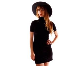Velvet Turtle Neck Mini Dress, Black Velvet, High Neck, Short Sleeve, Velvet Dress,