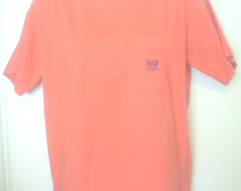 Vintage 80s Lizsport Halloween Orange Classic Short Sleeve Tee Shirt Double Collar Crest Left Pocket L All Cotton Mix Match Goldbergs EC BIN