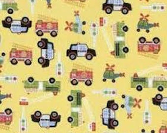 Rescue 911 Fabric by Northcott  /  Tossed Vehicles / Fire Truck / Police  /  Yellow