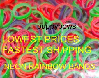 Puppy Bows ~ NEON rainbow Dog Grooming Bands ~10000 quantity bags elastic dog bows bow TOPKNOT band ~Usa seller