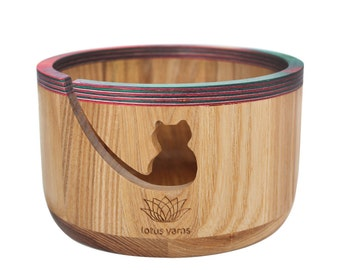 knitting crochet wood yarn bowl