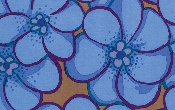 ELEPHANT FLOWER in BLUE bm056 Brandon Mably for Kaffe Fassett Collective Sold in 1/2 yd increments
