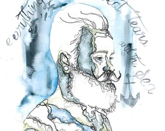 Merman Bearded Man A3 Giclee Print