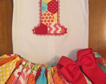 ON SALE Rainbow Patchwork Birthday Tutu Outfit