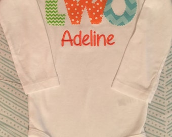 Orange, Lime, and Turquoise Birthday Shirt or Baby Bodysuit With Name Embroidery