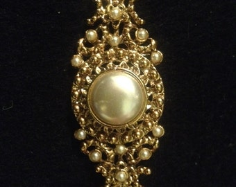 Vintage Gold Toned Faux Pearl Victorian Revival Brooch