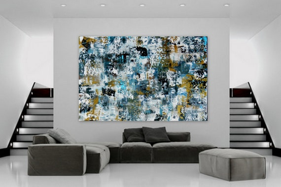 Huge Abstract Modern Contemporary Painting by Marcy Chapman wall art decor extra large enormous big gold navy blue white black XL XXL