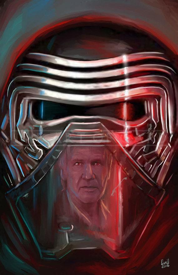 Kylo Ren and Han Solo (11X17 Artist's Print)