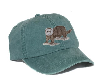 Ferret embroidered hat, baseball cap, mom cap, dat hat, pet lover, mom cap, dad hat, wildlife, nature, animal lover cap, embroidery