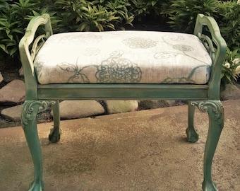 Aqua Vanity Bench / Victorian Vanity Bench / Painted Vanity Bench / French Provincial Vanity Bench / Painted Furniture