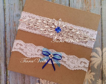 Wedding white Blue garter Bridal  Swarovski Rhinestone Garter wedding garters bridal garter lace garter Vintage Garter keepsake toss garter
