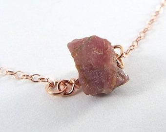 Raw Ruby Captive Stone  Necklace (Rose Gold)