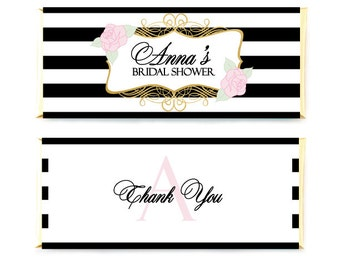 Printable Candy Bar Wrapper - Black And Gold Floral Wedding Wrapper - Striped Chocolate Bar Wrapper - Bridal Shower Candy Wrapper