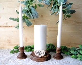 Personalized Wood Unity Candle Holder Set Rustic Unity Candle Holders Wedding Unity Candle Unity Ceremony Wooden Unity Candle Set