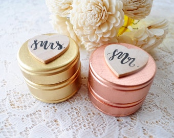 GOLD or ROSE GOLD Set of Two Extra Small Personalized Round Engraved Wood Burned Rustic Wooden Wedding Ring Boxes Mr. Mrs. Ring Bearer Boxes