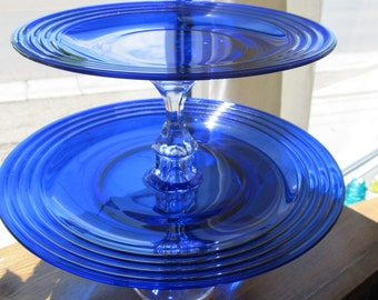 Vintage Glass 2 Tiered Serving Tray