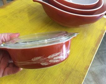 Vintage Pyrex Autumn Wheat Bowl Set Of 4