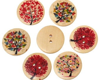 10 Tree Design Wooden Buttons Round Love Hearts Flowers Trees Painted Wood Trees Bright Embellishments Scrapbooking WB18