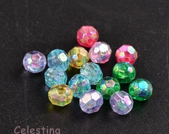 200 pcs 6mm Mixed Colour Faceted Round Beads - Transparent AB Colours - Vibrant - PB83