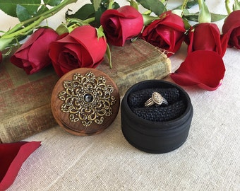 Proposal ring box - engagement ring box - black ring box - jewelry box