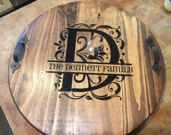 personalized wood, personalized lazy susans, Custom lazy susan, monogrammed lazy susan, housewarming gift-wedding gift
