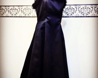80's Does 50's Feather Adorned Black Bombshell Evening Gown by Roberta, Size 9 / 10, Vintage Marilyn Pin Up LBD, Avant Garde Hollywood Dress