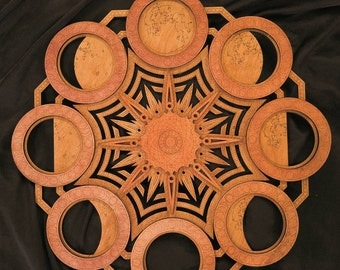 moon phases mandala multilayer laser cut wood sculpture sacred geometry celestial meditation yoga wicca visionary art - Laser Cut Wood