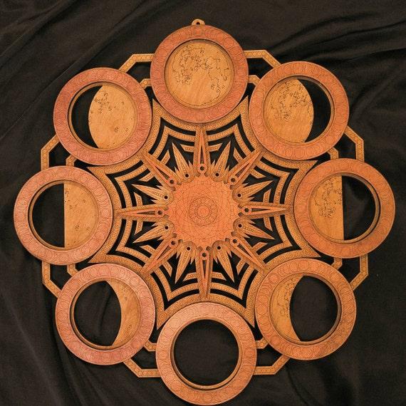 Phases de lune Mandala multicouche Laser coupe bois Sculpture géométrie sacrée Art visionnaire