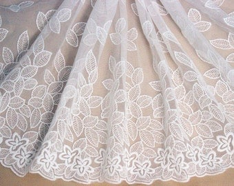 "1 Yards Super Width Lace Trim Exquisite Ivory Tulle Leaf Embroidered 16.5"" Wide High Quality"