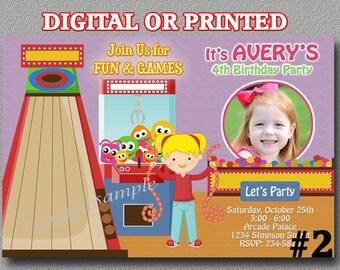 Arcade Invitation, Arcade Birthday Invitation, Girl Photo Birthday Party Invite YOU Print Digital File or PRINTED, Bowling Party