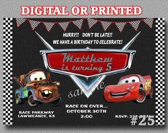 Disney Cars Birthday Invitation YOU Print Digital File or PRINTED Birthday Party Invitation