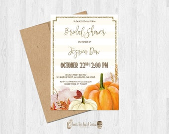 Pumpkin Bridal Shower Invitation Fall Autumn Wedding Printable Digital File or Prints with Free Shipping