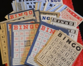 I've Got BINGO! 10 Vintage Bingo Cards For Your Craft Projects  Embellish Cards Different Colors, Sizes, Styles and Texture. Mixed Media Art