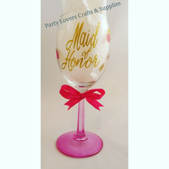 Wedding Gift Personalized Wine Glasses : ... Maid of Honor Gift; Wedding Wine Glass; Personalized Vinyl Wine Glass