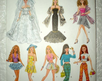 "Doll Clothing Pattern 11 1/2"" Doll Fits Barbie Wedding Dress Solo in Spotlight Halter & Crop Tops New Uncut"