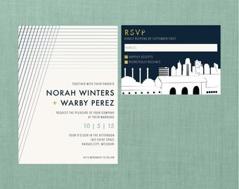 Modern Kansas City Wedding Suite // DIY PRINTABLE Invite + RSVP // Modern Wedding, Whimsical Wedding, Kansas City Skyline