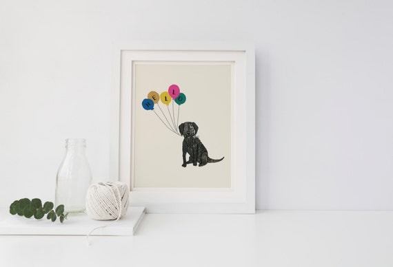 Diy Dog Wall Decor : Black lab dog nursery wall art diy printable by