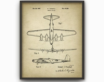 Flying Fortress Bomber Patent Print - 1935 B-17 Heavy Bomber Aircraft Design - Aeroplane - Plane Schematic - Warplane - Bedroom Decor