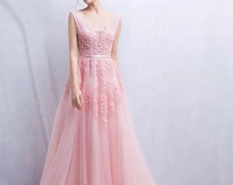 Elegance Deep V-Neck Wedding Dress in Pastel Pink