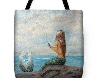 Mermaid tote bag, mermaid purse,  mermaid with bird beach tote, original painting by Nancy Quiaoit