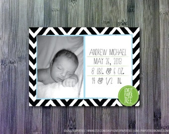 Chevron Striped Birth Announcement | BA6