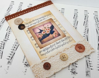 Bird art collage, swallow, sheet music, canvas mixed media original art, vinatage style, buttons, lace