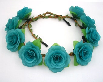 Turquoise Aqua Blue Flower Crown,Blue Rose Headband,Blue Rose Crown,Blue Flower Headband,Girls,Women,Adult,Festival Crown,Wedding Hair Piece