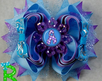 Boutique hair bow for girls , party bow , mlp hair bow , layered blue  bow /favor /tutu / dress