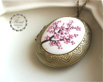 Sakura Jewelry Gift- Valentines Day Gift- Valentines Gift- Anniversary WIFE Gift- Cherry Blossom Necklace-Romantic Wife Gift