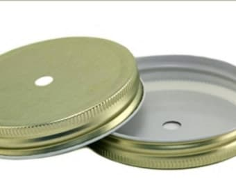 12 Wide mouth mason jar lids gold diy gold your to go lids for jars *lids*jars*gold*diy