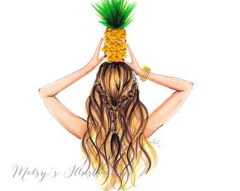 The Pineapple (Fashion Illustration Print)