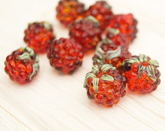 Blackberries lampwork beads set, red beads, berry beads, fruit bead, glass beads, lampwork glass beads, lampwork beads, blackberry bead