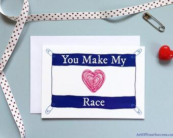 Anniversary Card, Love Card, Card for runner, him, her, triathlon, Personalise Anniversary, Run Card, Tri Card, Heart Race