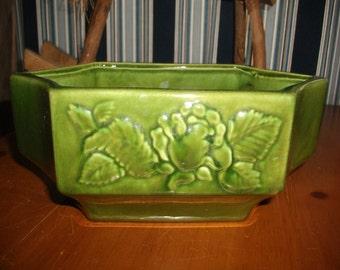 Vintage Green Floral Haeger Planter